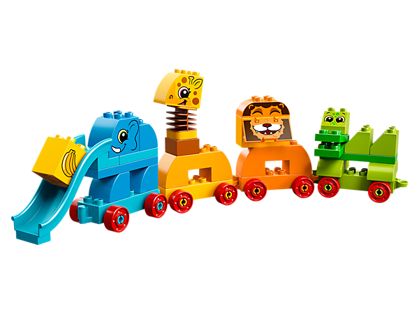 Create a colorful animal train from chunky LEGO® DUPLO® bricks with your preschool child for hours of driving fun, as they learn about wildlife and develop fine motor skills.
