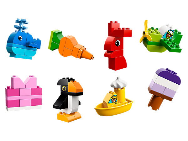 Encourage your toddler's creativity with this rainbow of basic LEGO® DUPLO® bricks. Animals, vehicles, food—what will they build and play with today?