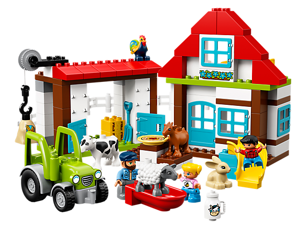 Help your preschooler build and rebuild LEGO® DUPLO® Farm Adventures in different ways for endless fun feeding animals, riding on the tractor and playing on the slide!
