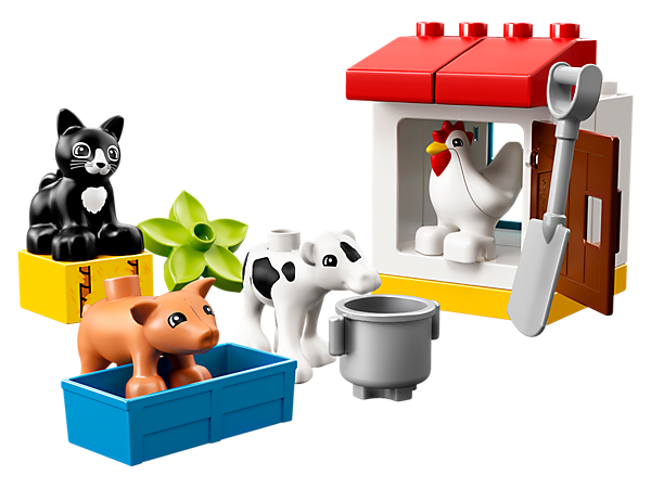 Help your toddler take care of the LEGO® DUPLO® Farm Animals, including a calf, piglet, chicken and a cat, along with a chicken coop, decorated hay brick and trough.