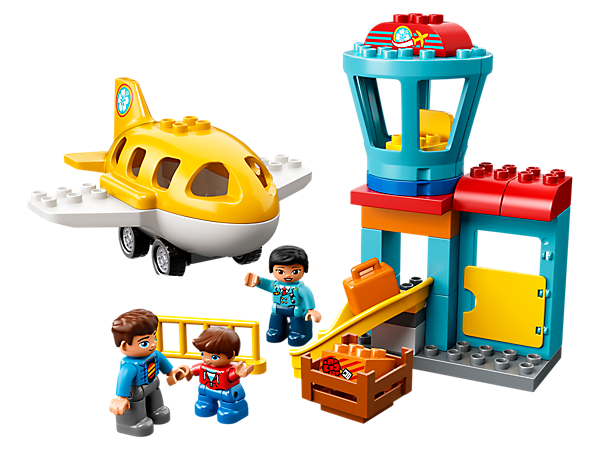 Help your toddler construct the airport building with control tower and luggage slide, then jump aboard the buildable plane and fly away!