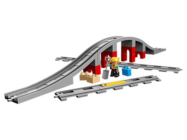 Add this tall bridge and extra track pieces to your new or existing LEGO® DUPLO® train set, plus a workman DUPLO figure and an action brick to make any compatible DUPLO train sound its horn.