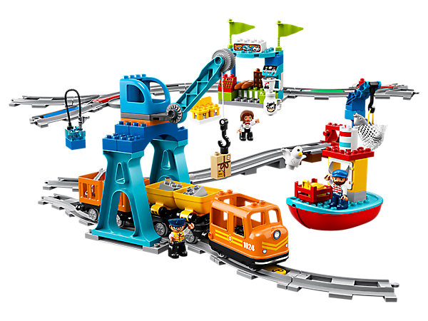 All aboard the LEGO® DUPLO® Cargo Train with easy-to-use action bricks, Push & Go functionality, lights and sounds, plus an optional app for digital play possibilities.