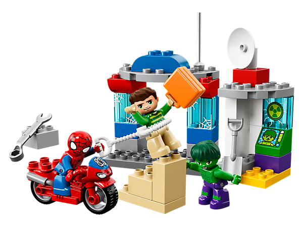 Help your favorite Marvel superheroes protect Avengers HQ from Sandman in this LEGO® DUPLO® Spider-Man and Hulk Adventures set, with Spider-Man's garage and motorbike, and Hulk's laboratory.