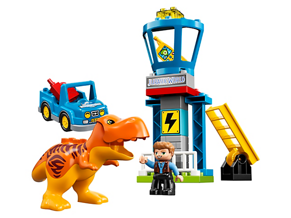 Your toddler will love to play out Jurassic World action and adventure with this set featuring a T. rex with opening jaw, lookout tower, car and an Owen Grady LEGO® DUPLO® figure.