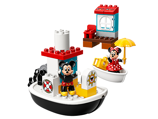 All aboard this classic steamboat with a window and working pulley, plus a pier with a window, chair and festive lighting decoration, a rowing boat and 2 LEGO® DUPLO® figures.