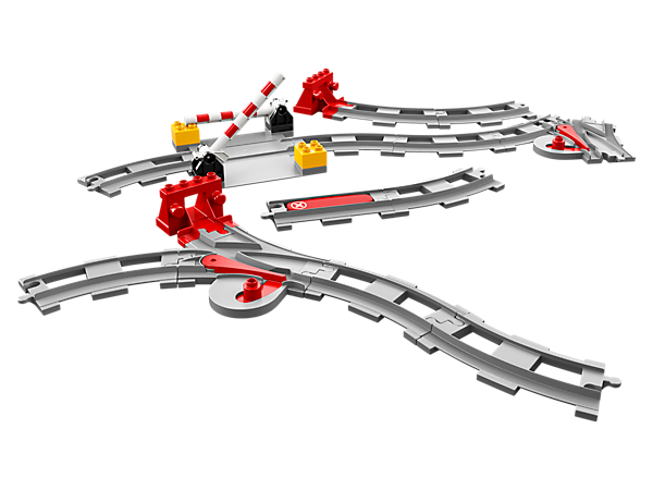 This set of extra LEGO® DUPLO® track pieces includes stops, switches and level crossings, plus a red action brick to make any compatible DUPLO train stop in its tracks.