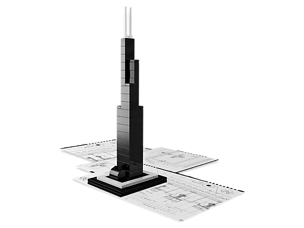 Construct an architectural landmark with this real-world replica of Chicago's famous Willis Tower, includes booklet with design and history.