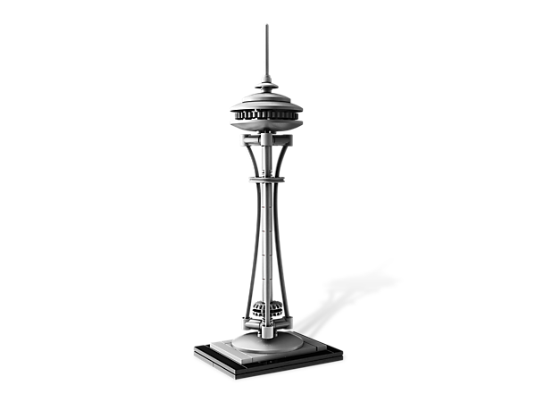 Construct an architectural landmark with this real-world replica of Seattle's famous Space Needle, includes booklet with design and history.