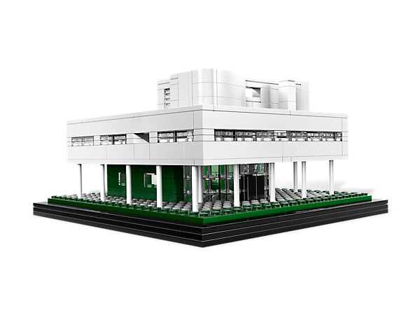 Recreate the Villa Savoye within a building set featuring the iconic details of this modernist marvel famous for blending with nature!