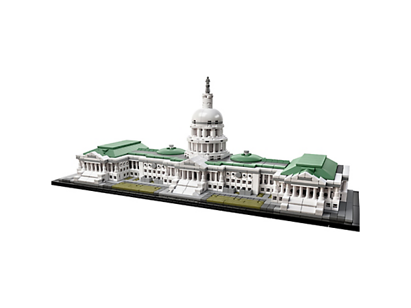 Explore iconic architecture with this LEGO® Architecture interpretation of the United States Capitol Building with detailed neoclassical facade, dome, steps and lawns.