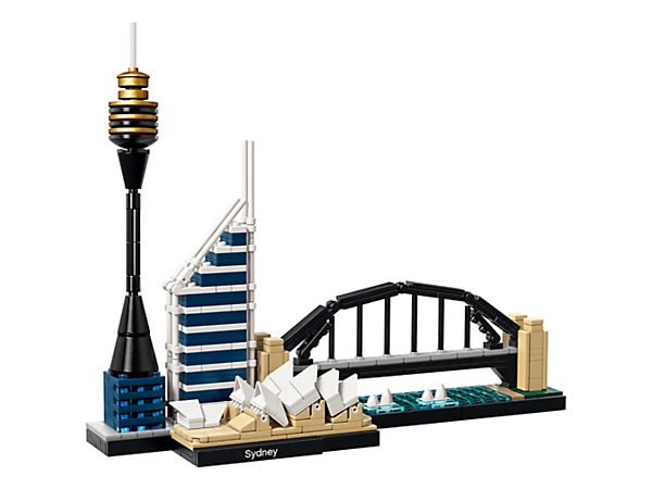 Das Modell der Skyline von Sydney vereint Sydney Opera House™, Sydney Harbour Bridge, Sydney Tower und Deutsche Bank Place.