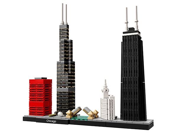 Das Modell der Skyline von Chicago vereint Willis Tower™, John Hancock Center, Cloud Gate, DuSable Bridge, Wrigley Building und Big Red.