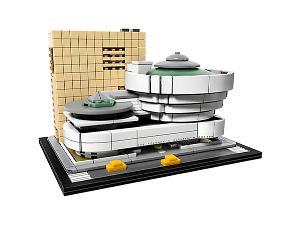 Explore iconic architecture with this LEGO® Architecture interpretation of Frank Lloyd Wright's Solomon R. Guggenheim Museum®, featuring the famous 'inverted-ziggurat' rotunda and annex tower.