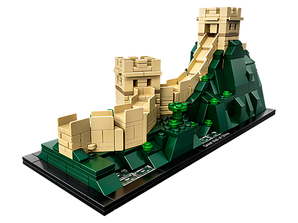 Explore the architectural secrets of the Great Wall of China with this impressive LEGO® Architecture model, featuring a winding wall section with 2 turrets draped over a lush mountainous landscape.
