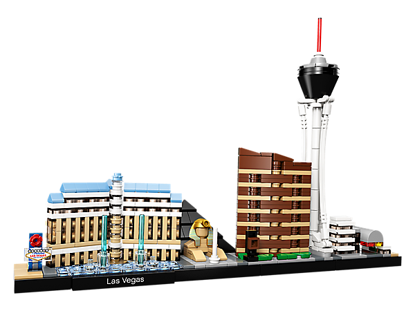 Bring together the Bellagio Hotel, Luxor Hotel, Encore Hotel, Stratosphere Tower and the Fremont Street Experience with this LEGO® Architecture Las Vegas, USA skyline model.
