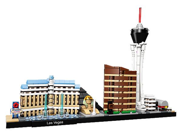 Postav si hotely Bellagio, Luxor a Encore, vyhlídkovou věž Stratosphere a jedinečnou ulici Fremont Street s tímto panoramatickým modelem LEGO® Architecture Las Vegas.