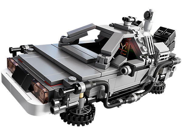 Journey Back to the Future with the DeLorean time machine with fold-up wheels, flux capacitor and more, as chosen by LEGO® CUUSOO members!