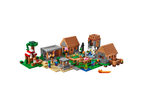 <p>Experience The Village with a watchtower, library, blacksmith, butcher and marketplace, plus 4 minifigures, Creeper™, enderman, pig, baby pig, iron golem and 2 villagers.</p>