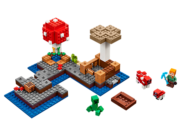Set sail for The Mushroom Island! This easy-to-reconfigure, modular set with explosion function includes an Alex minifigure, mooshroom, baby mooshroom and a Creeper™.