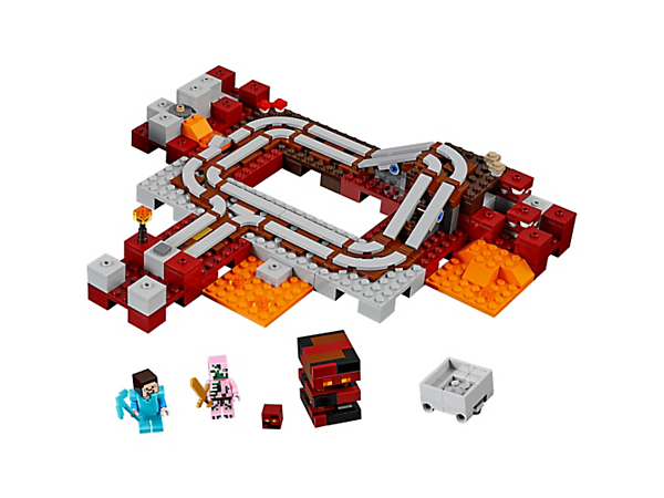 <p>Jump aboard the minecart and journey through the Nether on The Nether Railway, avoiding the hopping magma cubes and the zombie pigman. Includes a Steve Minifigure.</p>