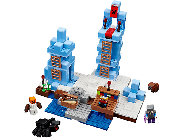 <p>Mine, enchant and spring a surprise snow golem attack on the spider at The Ice Spikes! This easy-to-reconfigure, modular set also includes a Steve minifigure and a baby cow.</p>
