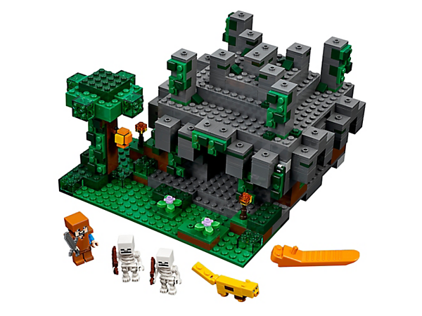 Battle your way into the booby-trapped Jungle Temple and solve the three-lever combination puzzle to reveal the chest! Includes a Steve minifigure, ocelot and two skeletons.