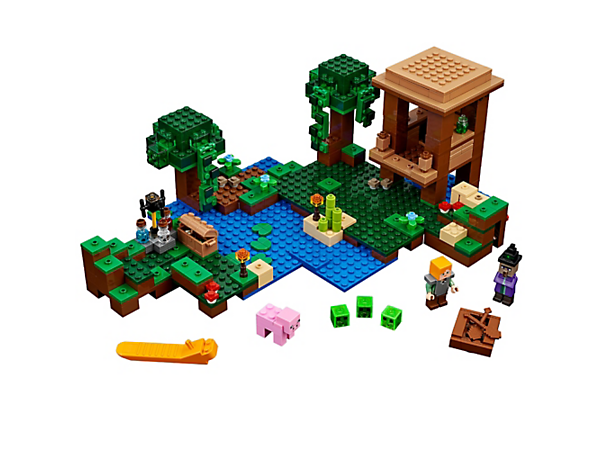 Launch a surprise attack at The Witch Hut, complete with boat, crafting table, cauldron, brewing stand and jumping slime function. Includes an Alex minifigure, plus a witch and a pig.