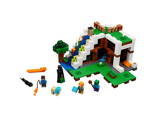 Create the ultimate Minecraft™ base with this easy-to-reconfigure modular set, featuring a detailed interior, plus Alex and Steve minifigures, an enderman, zombie, cat and a dyed sheep.