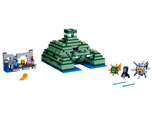 Battle the spiked guardians and discover hidden treasures at the Ocean Monument. This easy-to-reconfigure LEGO® Minecraft™ set also includes Alex and Steve minifigures, plus a squid figure.