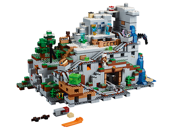 Mine, craft, create, explore and battle at the Mountain Cave. Ride the minecart and experience an array of features and functions. Includes Alex and Steve minifigures, plus 13 mobs.