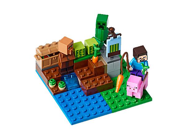Cet ensemble permet de monter sur la selle du cochon pour le guider, de faire pousser des pastèques, des pommes de terre, des carottes et de les vendre aux villageois. Attention au Creeper™ explosif. Inclut les figurines de Steve et du villageois.