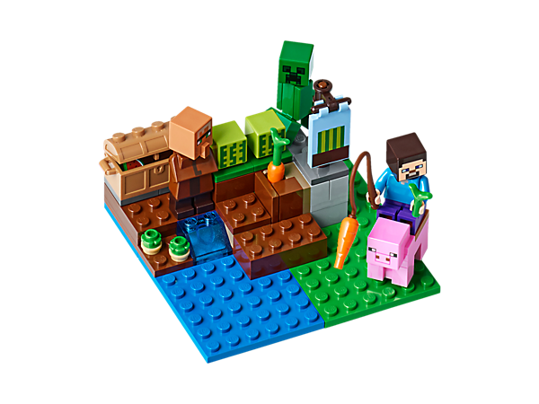 Jeď a veď své osedlané prase, pěstuj melouny, brambory a mrkve, obchoduj s vesničanem a chraň Melounovou farmu proti výbušnému Creeperovi™. Obsahuje minifigurky Steva a vesničana.