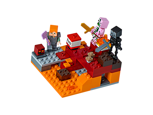 Dodge the zombie pigman to battle the wither skeleton and small magma cube, and activate the exploding TNT function in the Nether Fight, complete with Alex minifigure.