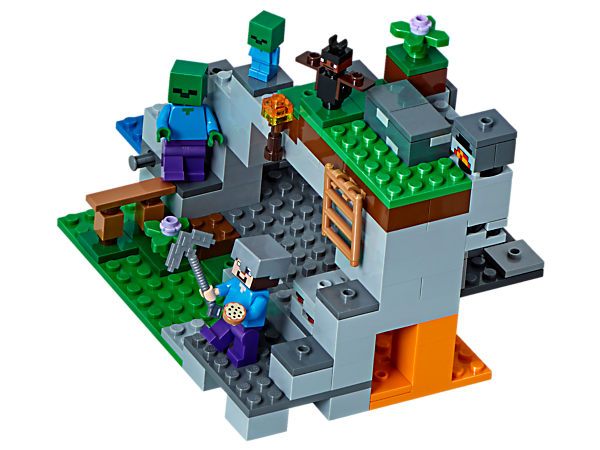 Blast your way into the bat-infested Zombie Cave, avoiding the tumbling gravel. Battle a zombie and a baby zombie, and mine coal, redstone, gold and diamond ores. Also includes a Steve minifigure.