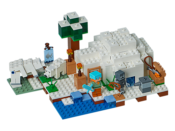 Discover the Polar Igloo, complete with a polar bear and baby polar bear. Do a spot of fishing and build an arrow dispenser to defend against the stray. Also includes an Alex minifigure.