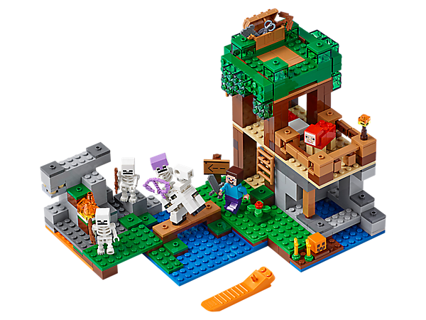 Construct a LEGO® Minecraft™ shelter with a secret trapdoor and craft weapons to battle the skeleton army. Includes a Steve minifigure, plus a red sheep, skeleton horseman and 2 skeleton figures.