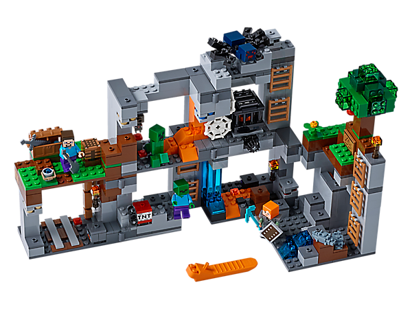 Set out on LEGO® Minecraft™ Bedrock Adventures with this modular set including Steve and Alex minifigures, plus cave spider, zombie, Creeper™, bat and 2 silverfish figures.