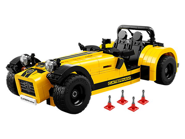 Build and display a detailed LEGO® model of the Caterham Seven 620R sports car, featuring a removable nose cone, engine and engine cover, plus opening boot.
