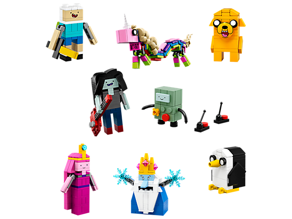 Build eight colorful Adventure Time™ characters and role-play funny scenes from the smash-hit Cartoon Network series with the included accessory elements.