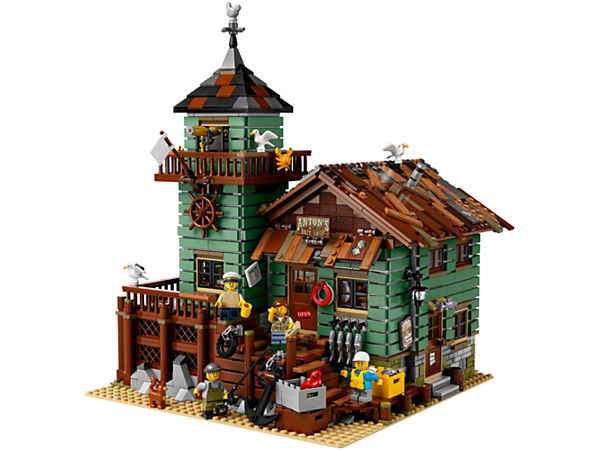 Stop by the Old Fishing Store, featuring a shop with fishing-themed elements, watchtower with viewing balcony and an office, plus 4 minifigures, cat and seagull figures.