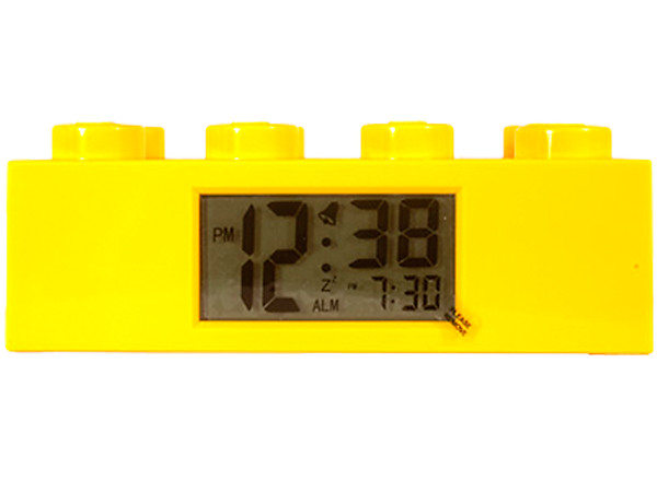 Build fun into each day by waking up with the LEGO® Yellow Brick Alarm Clock, featuring LCD digital display and snooze!