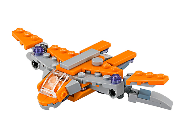 Soar into battle action inspired by the Marvel Super Heroes Avengers: Infinity War movie with a mini LEGO® brick version of The Guardians' Ship, featuring an adjustable cockpit and adjustable wings.