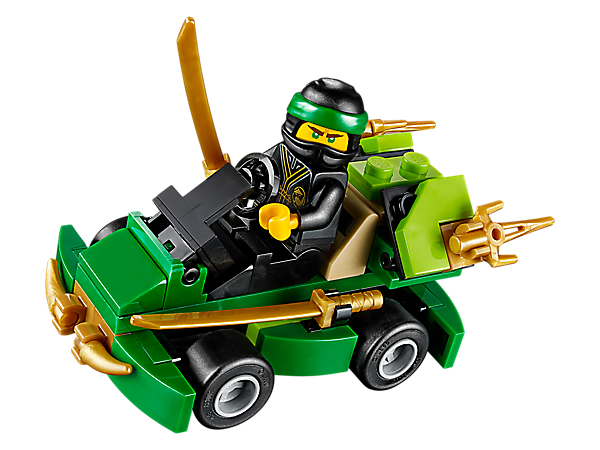 Speed into thrilling ninja adventures in the LEGO® NINJAGO® TURBO, featuring a minifigure driver seat, 2 detachable katanas and 2 detachable shurikens, plus a Lloyd minifigure.
