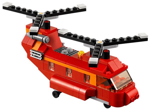Load the Red Rotors helicopter with the cargo ramp to take flight with twin rotors, then rebuild it into a propeller plane or a hovercraft!