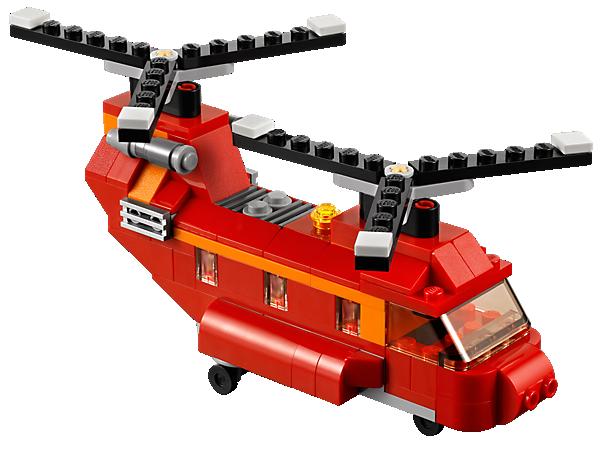 Befördere die Fracht! Der rote Helikopter mit seinen mächtigen Doppelrotoren und der riesigen Frachtluke lässt sich in eine Propellermaschine oder ein Luftkissenboot umbauen!