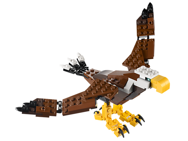 Build the majestic Fierce Flyer with flapping wings, poseable tail feathers and gripping talons, then rebuild it into a scorpion or beaver.