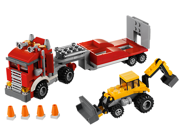 Unload the working digger from the heavy-duty construction hauler, then get to work or rebuild it into a cherry picker or offroad transporter with dune buggy.