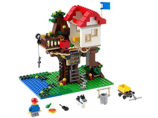 Build this detailed 3-in-1 LEGO® Creator Treehouse with a secret trapdoor, fold-down ladder, winch with red bucket and loads of accessories!