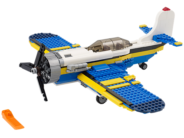 Build the Aviation Adventure plane with turning propellers, detailed cockpit, then create a speedboat and helicopter!